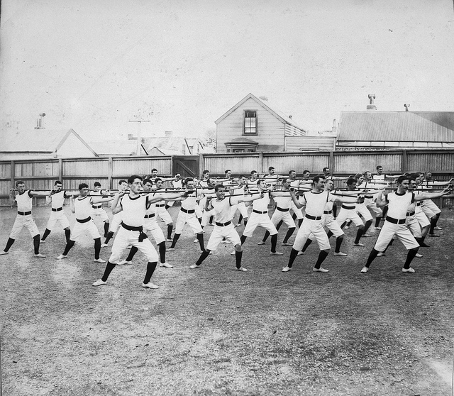 Men doing stretches, 1898