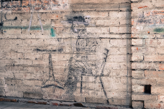 A drawing on a wall