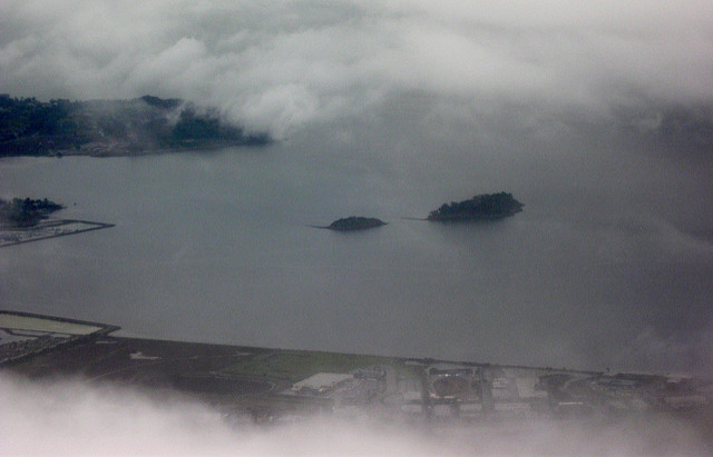 A view of some islands from a plane
